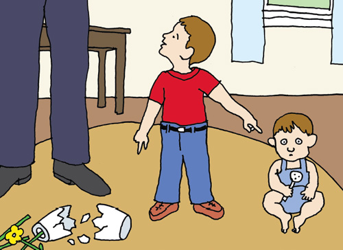 In some cases a child's lie may have more than one motive. Here, the child who denies he is responsible for the broken vase aims to accomplish two things at once: to protect himself from punishment and to make his younger sibling feel shame (falsely) for an act of mischief. <strong>Illustration by Tom Dunne.</strong>