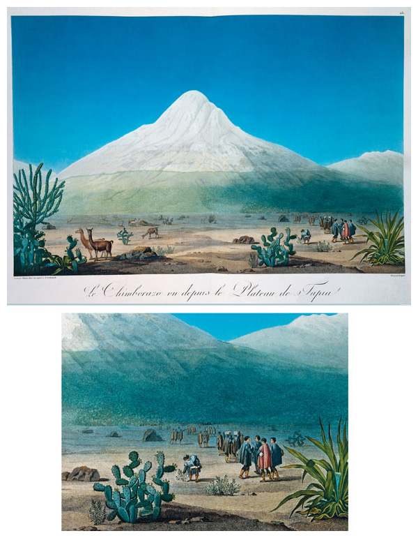 Chimborazo (<em>top</em>), an inactive volcano located in what is now Ecuador, in an image Humboldt included in his <em>Vues des Cordillèras</em>. Humboldt climbed the volcano in 1802; at the time it was thought to be the highest mountain on Earth. He is shown in the foreground, gathering plants (see detail, bottom), along with French explorer and botanist Aimé Bonpland, who traveled through South America with Humboldt. <strong>Image courtesy of Andrea Wulf.</strong>