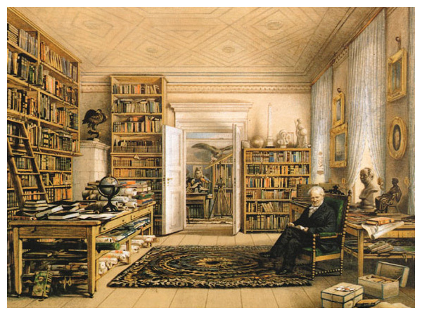 "Humboldt in the library of his Berlin apartment, a familiar sight to his throngs of visitors. In 1849 he complained to his publisher that he could only get writing done at night. His bell rang incessantly during the day, he said, as if he lived in a ""liquor store."" Humboldt's study, where he also entertained visitors, is visible through the door at center. <strong>Image courtesy of Andrea Wulf.</strong>"