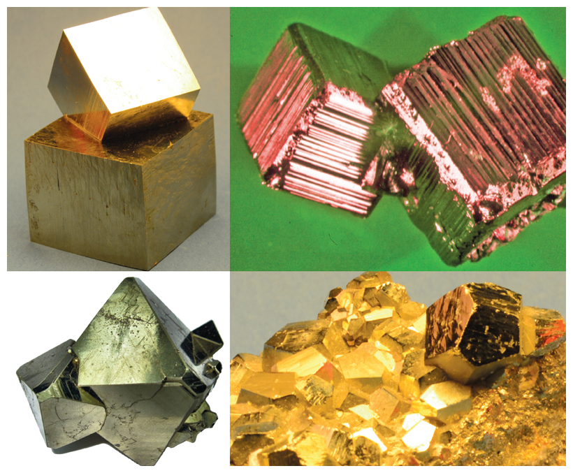 Pyrite crystals most commonly take on cubic formations; some are smooth (<em>top left</em>), but many are striated (<em>top right</em>). Irregular pentagonal dodecahedrons (<em>bottom right</em>) are the crystal form found next most often. Octahedrons capped with cubic faces (<em>bottom left</em>) are the least common natural crystal shape. <strong>Top left and bottom right images courtesy of the author and Oxford University Press; top right, courtesy of J. Murowchick; bottom left, courtesy of Carlos Millan.</strong>