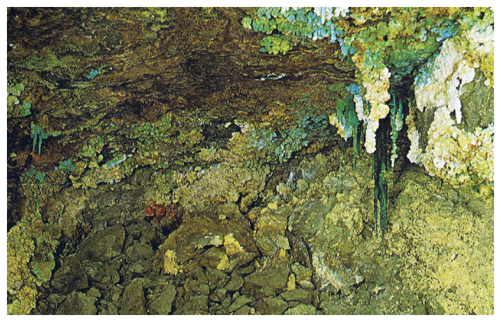 A collapsed slope in the Falun mine in Sweden shows the effect of 300 years of oxidation on a massive pyrite ore. Sulfate stalactites of iron (<em>green</em>), copper (<em>turquoise</em>), calcium, magnesium, zinc, and lead (<em>white</em>) protrude from a mass of iron oxide ocher. The temperature in the mine can reach 50 degrees Celsius. <strong>From D. Rickard and R. O. Hallberg, 1973, <em>De Små gruvarbetarna i Falun. Sevens Naturvetenskap</em>, pp. 102–107.</strong>