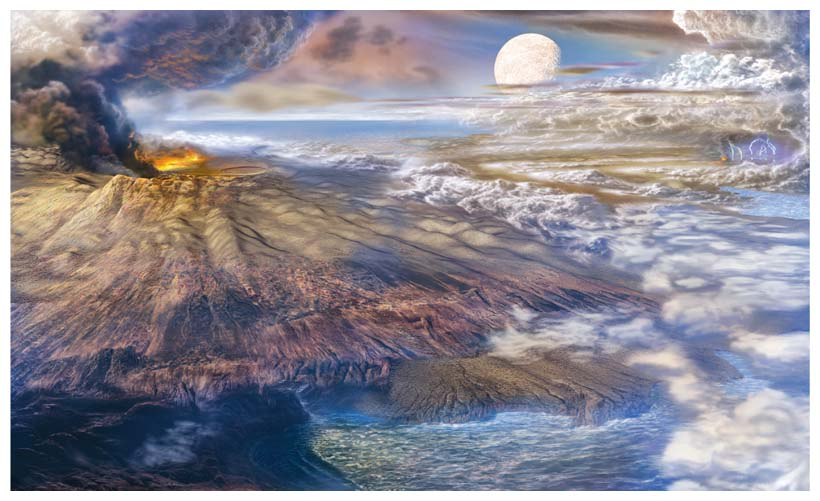 This rendering of early Earth shows a volcano building the planet's atmosphere over an ocean that does not yet harbor life. The distance from a star at which water can exist in liquid form on a planet's surface is an important element of astronomers' current definition of the habitable zone. But are astronomers asking the right questions about habitability? <strong>Illustration by Don Dixon.</strong>