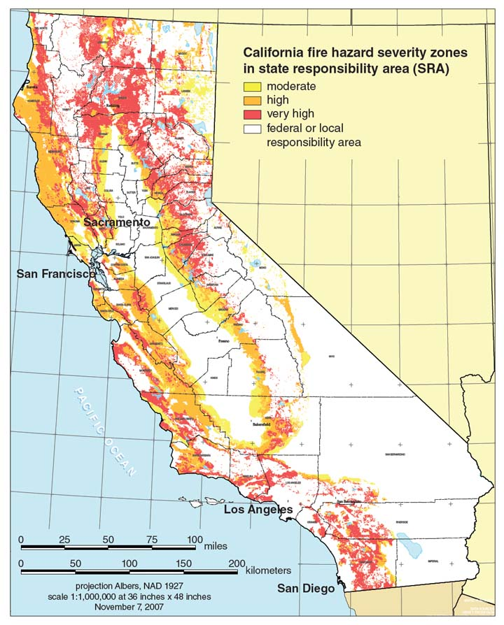 Some states, including California, have mapped fire hazards and are using this information to improve decision making about where and how homes and infrastructure are built. Such maps are crucial for local and state agencies to plan well for fire. <strong>Image from the California Department of Forestry and Fire Protection.</strong>