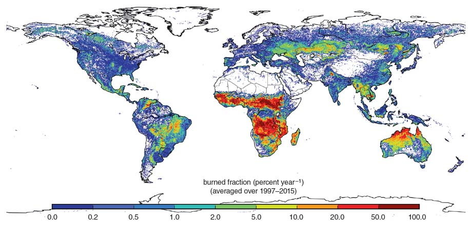 The occurrences of fires around the globe can identify the broadscale environmental variables that affect their likelihood across different ecosystems. <strong>Image from globalfiredata.org</strong>